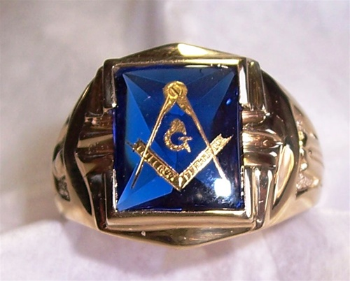 Blue Sapphire Masonic Ring Very Rare 24k Gold Flake Hand