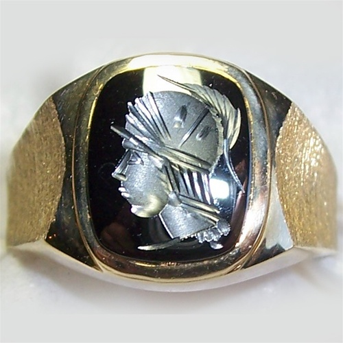 Men S Hematite Intaglio Ring
