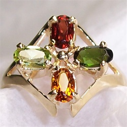 Mother's Ring with 4 Colored Gemstones