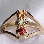 Mother's Ring with 3 Colored Gemstones