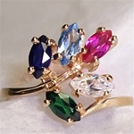 Mother's Ring with 5 Colored Gemstones