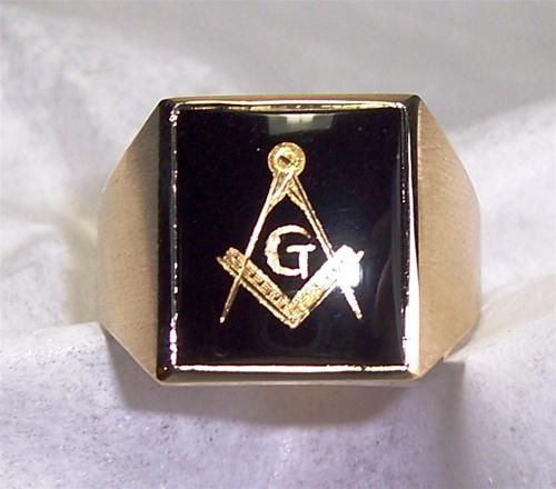 Black Onyx Masonic Ring - Custom Made Black Onyx with Square