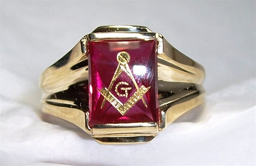 Ruby Masonic Ring - Custom Made Ruby with Square and Compass Symbols