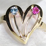 Mother's Ring with 2 Colored Gemstones